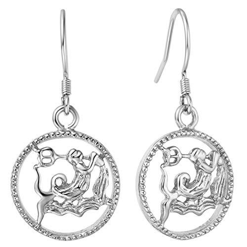 BYBYC Wassermann Exklusive Ohrringe Zwölf Constellation-Ohrringe Arbeiten Damen Accessoires Damen,Silber