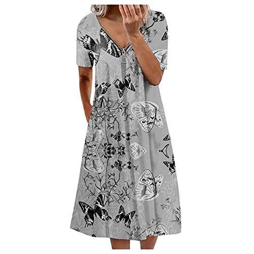 JoCome Damen Sommer Freizeit Blumenmuster Boho V-Ausschnitt Reißverschluss Strand midi Kleid, Damen Summer Boho Midi Kleider Damen Kleider mit Taschen Damen Mode Blumen Druck Loses Kleid