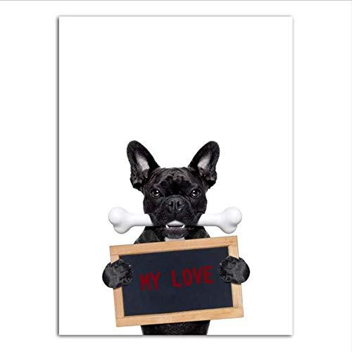 Djkaa muurschildering, bedrukt, wand, kunstschildersdoek, schuim-schildering-spray, zwart, hond met koptelefoon muziek (met frame) 08