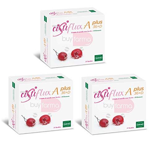 BUYFARMA PROMO PACK - 3X Cistiflux A Plus 36+D - Integratore di Mirtillo Rosso - 42 Bustine + OMAGGIO A SORPRESA