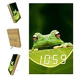 Horloge de chevet Feuille de grenouille verte Réveil De Table De Chevet Avec Horloge Électronique Numérique Led Avec Batterie Au Lithium Et Chargeur Usb 10x16x2.4cm