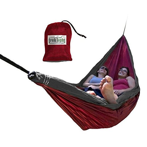 Trek Light Gear Double Hammock with Rope Kit - The Original Brand Lightweight Nylon Hammocks - Use for All Camping, Hiking, and Outdoor Adventures {Red/Charcoal}