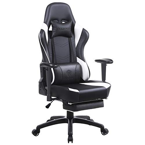 Dowinx Gaming Chair Ergonomic Office Recliner for Computer with Massage Lumbar Support, Racing Style Armchair PU Leather E-Sports Gamer Chairs with Retractable Footrest White