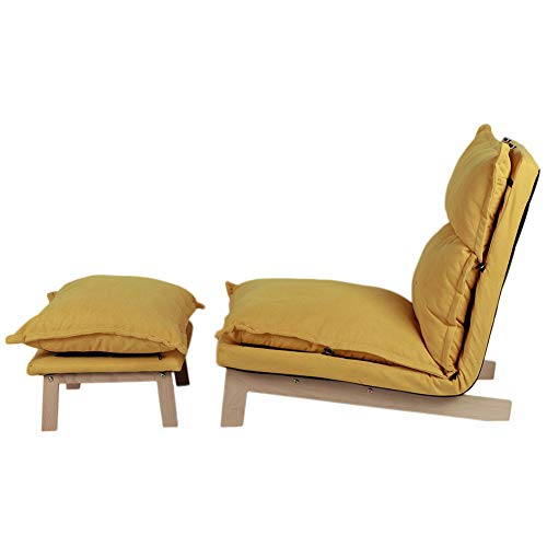 Liegesessel und Fußschemel Leinenstoff Liegesessel Moderner Abnehmbarer Verstellbarer Rückenlehnen-Liegestuhl Lounge-Sofastuhl für Zuhause Wohnzimmer Schlafzimmer Büro(Gelb)