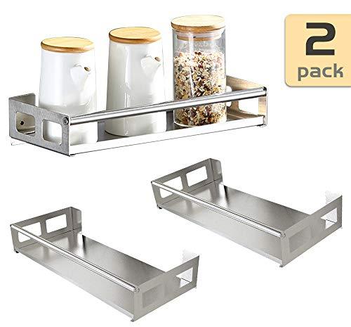 Ldawy Estante organizador de cocina,Estante organizador de acero inoxidable sin perforación de 2 piezas para el baño de la cocina (30 * 12 * 4.5 cm)