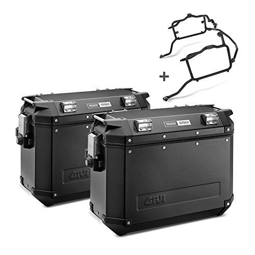 Juego de maletas laterales para BMW G650GS Sertao 12-14 Givi Monokey Trekker Outback OBK37B en aluminio negro