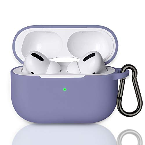 MATEPROX AirPods Pro Case,AirPods Pro 2019 Protective Shockproof Soft Silicone Chargeable Headphone Cover,Support Wireless Charging for Airpods Pro(Lavender Purple)