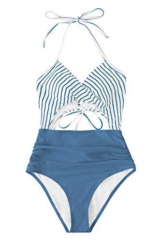 CUPSHE Women's One Piece Swimsuit Floral Print Halter Cutout Bathing Suit, XXL