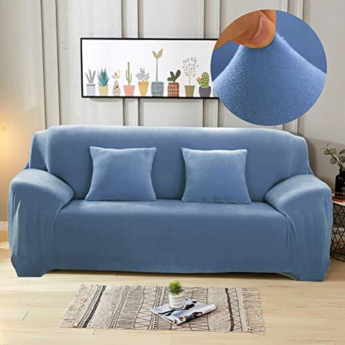 Funda protectora para sofá de terciopelo ultrasuave, colores sólidos, elastano, elástica, para muebles, antideslizante, a prueba de polvo, para salón, azul claro, 35 '-55 pulgadas