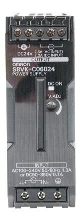 Omron Alimentatore da pannello e guida DIN monofase S8VKC06024 2,5A 60W 24V cc max 1 uscite