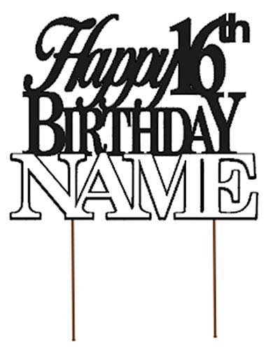 All About Details Happy 16th Birthday Cake Topper,1pc, Birthday Celebrations, Party Decor, Glitter Topper (Personalized)