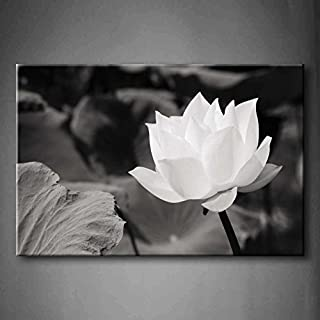 White Lotus in Basin Wall Art Painting The Picture Print On Canvas Flower Pictures for Home Decor Decoration Gift (Stretched by Wooden Frame,Ready to Hang)