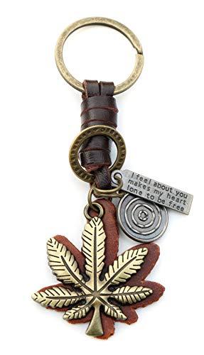 AuPra 420 Ganja Leaf Leather KeyRing Best Friend Grass Gift Idea Women & Men Home Key Rasta KeyChain Marijuana Weed Charm Girl & Boy Car Ring Pendant