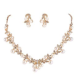 Clear Gold-Tone Pearl Vine Leaf Bowknot Necklace Earrings Set