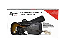 """Comfortable """"C""""-shaped neck profile One humbucking bridge pickup; two single-coil Strat pickups Vintage-style tremolo bridge Includes free 3-month subscription to Fender Play, padded gig bag, Frontman 15G guitar amplifier, instrument cable, instrumen..."""
