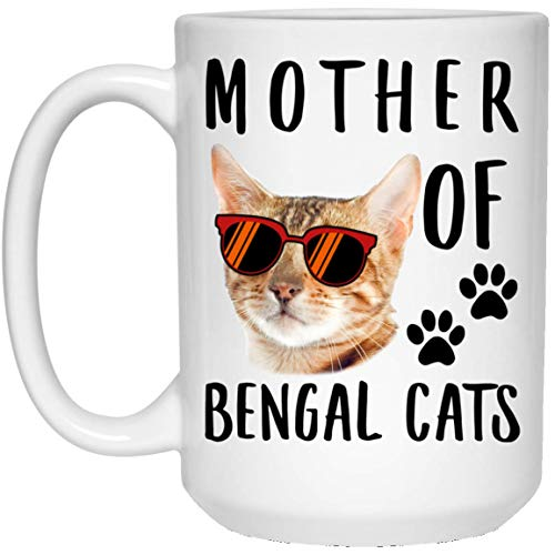 Funny Mother Of Bengal Cat Red Brown Sunset Retro White Coffee Mug 15oz