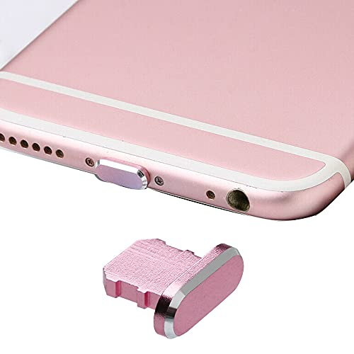 Best Shopper - Metal Stopper Anti Dust Plug Charging Port Cap for All iPhone X XR XS Max 8+ 7 6S+ 11 12 Pro Max iPhones Only - Pink