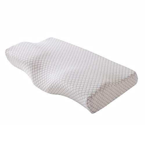JBHURF Comfortable Memory Foam Pillow Neck Massage Ergonomic Curve Cervical Orthopedic Neck Bed Sleeping Head Cushion Pillow 62x34x12x6cm Grid white