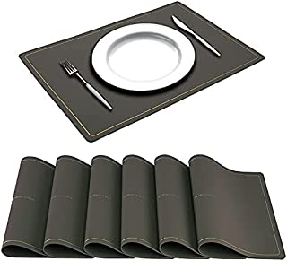 VUDECO Faux Leather Placemats for Dining Table Mats Set of 6 Heat Resistant Placemats Wipeable Placemats Waterproof Placem...