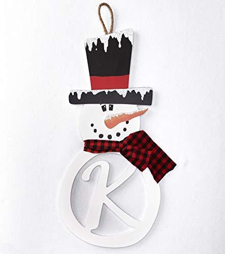 The Lakeside Collection Snowman Monogram Hanger Plaque - Christmas Door Art Accent - K