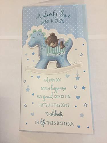 A Lovely Son Born in 2020 New Baby Boy Son Birth Card White/Blue Teddy/Rocking Dinosaur/Words 3D/Foil Detail