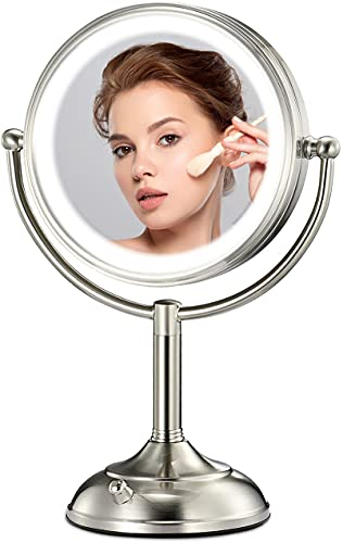 Professional 8.5' Large Lighted Makeup Mirror Detachable, 10X Magnifying Swivel Vanity Mirror with 32 LED Lights, Senior Pearl Nickel Mirror Non-Slip, Brightness Adjustable (0-1100Lux)