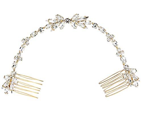 Damen Haarschmuck Haarband Haarreif Haarbänder Haardeko Perlen Blätter Blatt Hochzeit Braut gold silber Edelschmuck Schmuck Accessoires (Haarkamm (Style 1))