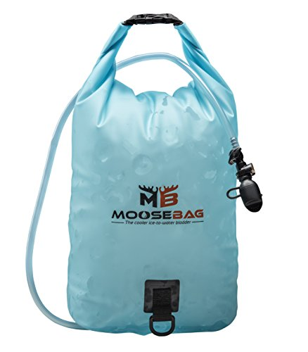 Moose Bag Collapsible Water Container and Ice Bag wtih Hydration System FREEZABLE, Portable Water Carrier, Hydration Pack and Ice Bladder for Camping, Hiking, Soccer & Football Games