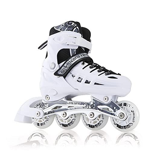 YANHUIGANG Inline Skates Für Kinder Und Herren Damen, 8 LED-Blinkräder, 31-46 Einstellbare Schuhgröße, ABEC-7 Lager, Doppelt Schuhkopf Kann die Zehen Besser Schützen (Weiß, L 39-42)