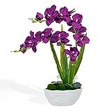 Flores moradas artificiales orquídeas artificiales de orquídea para mesa de salón, mesa,...