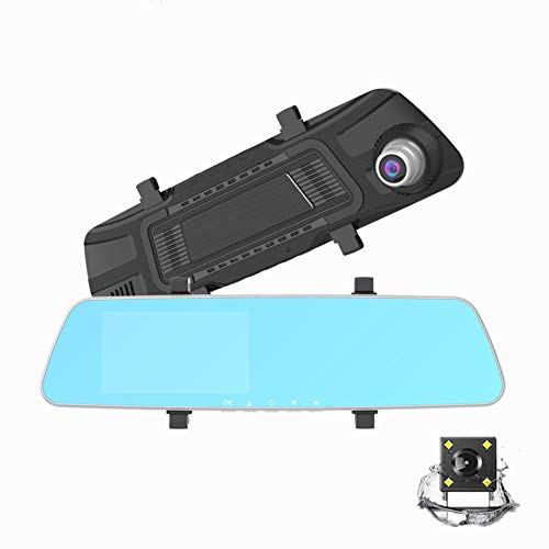 4.5'' Cámara de Coche Retrovisor, Cámara de Coche, 1080P Full HD Doble Lente Pantalla Táctil G-Sensor, Grabación en Bucle, Visión Nocturna, Monitor de Aparcamiento