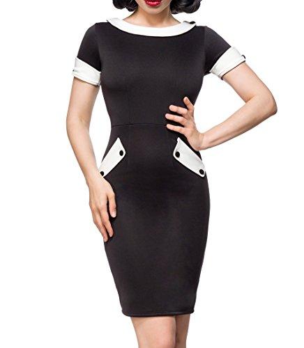 Unbekannt Schulterfreies Damen Pencilkleid in schwarz mit weißen Kragen und Manschetten Vintagekleid mit kurzen Ärmeln S