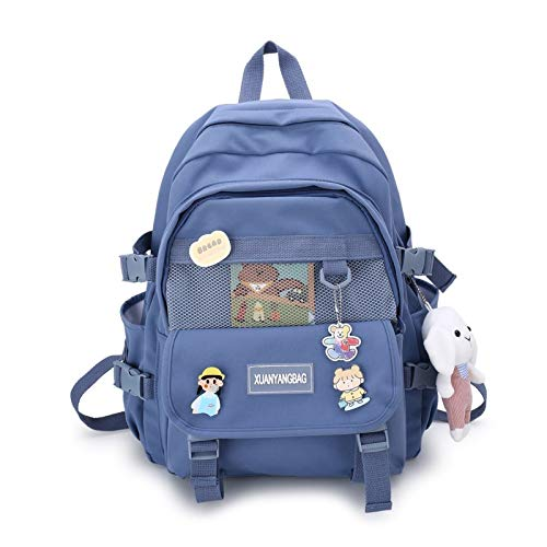 Taoyouzj Sac à Dos Étudiant Ordinateur Portable Hommes Noir Sac à Dos Mode Bookbag Schoolbag Femmes Garçon Bagpacks Voyage Rucksack Girl College Sac Femme (Color : Blue XYG5501)