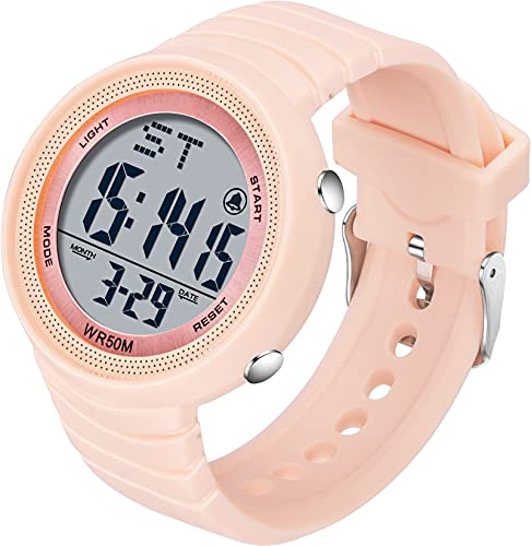 Sport Digital Uhren 50M Wasserdicht Armbanduhr mit LED Hintergrundbeleuchtung Digitaluhr Damen Herren Duale Zeitzone Stoppuhr Countdown Militär Uhr Candy Farbe Wecker Kalender Rosa