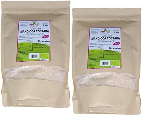 Harina de Mandioca Tostada Bio 2KG | SIN GLUTEN | Premium 100% natural | Ecológica | Harina de Yuca en polvo | Dieta Keto | Paleo | Vegana | Sin conservantes ni colorantes | Ecoandes