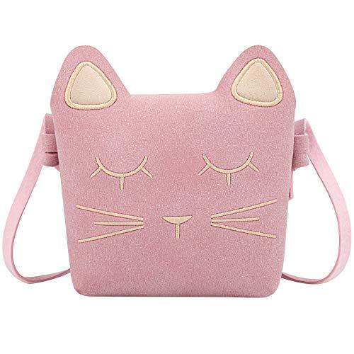 KEREDA Kinder Umhängetasche Mädchen, Katze CrossBody Messenger Bag, Prinzessin Mini Handtasche, PU Leder Süße kleine Mädchen Taschen