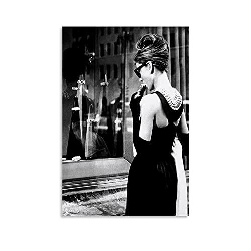 MEILANG Cuadro decorativo de 20 x 30 cm con diseño de Actor Audrey Hepburn, color blanco y negro