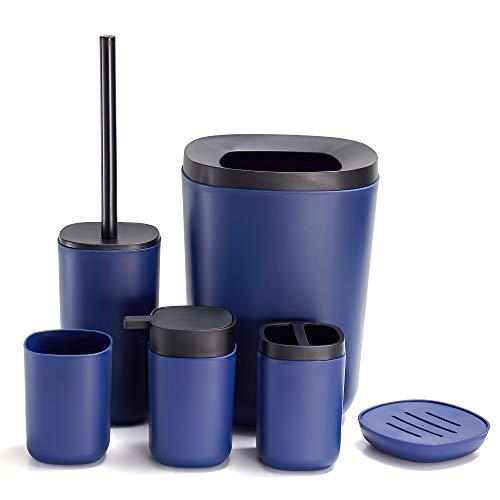 GERUIKE Bathroom Accessories Set 6 Piece Plastic Includes Soap Dispenser,Trash Can,Soap Dish,Toilet Brush Holder,Toothbrush Holder,Toothbrush Cup for Bathroom,Dark Blue