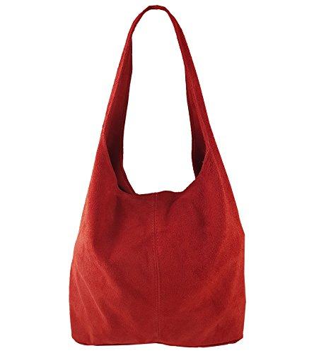 Freyday Damen Ledertasche Shopper Wildleder Handtasche Schultertasche Beuteltasche Metallic look (Rot)