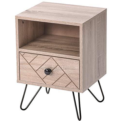 LOKKRG Armario de piso, aparador de almacenamiento de madera, mesita de noche, gabinete de almacenamiento, 1 cajón y 1 estante con asas de metal y corredores