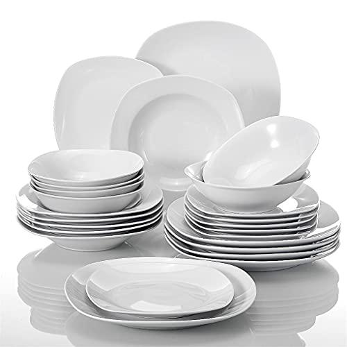 ZLDGYG Juego de vajilla de cerámica de porcelana de 24 piezas para cereales, cuencos para cena, sopa, postre, platos para 6 personas