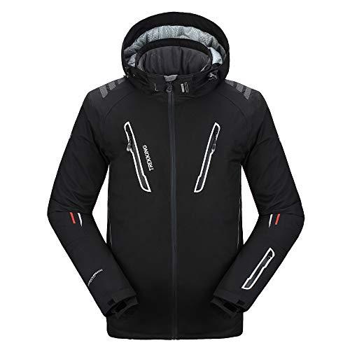 PELLIOT Veste de Ski Imperméable la Neige Professionnelle d'alpinisme des Hommes - Blouson d'hiver pour Homme - Veste Chaude pour Homme Sports d'Hiver en Plein Air (Noir, S)