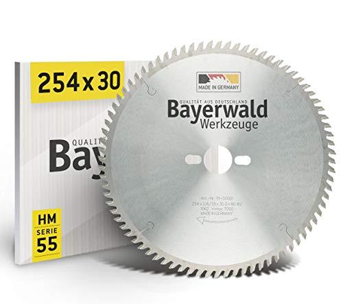 Bayerwald HM - Hoja de sierra circular de mesa (254 mm de diámetro x 2,8 mm x 30 mm, dentado intercambiable, orificios combinados para Bosch GTS 10 y PTS 10 (80 dientes)