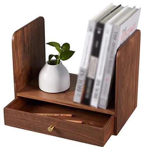 Independiente decorativo Estante de almacenamiento de librería, Mini estante de almacenamiento de escritorio de madera maciza, estante de almacenamiento, estante de libros, para sala de estar y dormit
