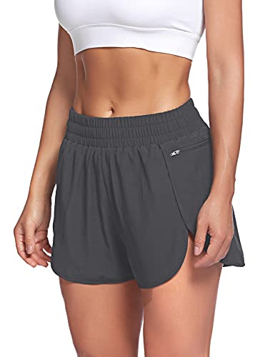 LaLaLa Womens Running Shorts with Zipper Pocket Quick-Dry Elastic Waist Workout Athletic Gym Shorts with Liner (L, Dark Grey)
