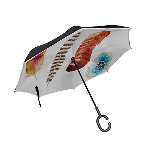 Sillas Plegables invertidas de Doble Capa Paraguas con Tres Plumas exóticas de...