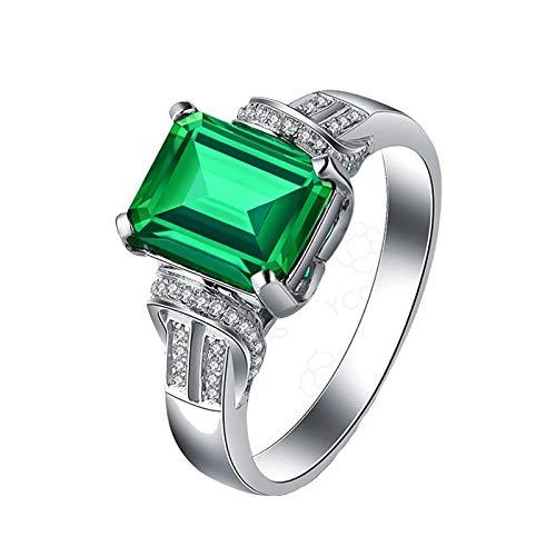 Daesar Anillos de Compromiso de Oro Blanco de 18 Quilates Esmeralda 2.22 ct Diamante Anillo de Boda de Oro Blanco Talla 20