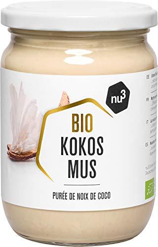 nu3 Purée de Coco Bio Vegan 500g Mousse de coco naturelle à partir de noix de coco fraîches du Sri Lanka Parfait en cuisine, en pâtisserie comme matière grasse Pour un délicieux goût exotique