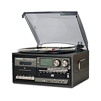 LoopTone Vinyl Record Player 9 in 1 3 Speed Bluetooth Vintage Turntable CD Cassette Player AM/FM Radio USB Recorder Aux-in RCA Line-Out  Black Edition