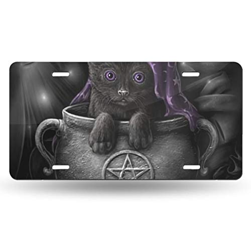 Wicca Black Pet Cat Wiccan Pagan Cute Themed Printed License Plates for Front of Car Tags Accessories Decorations Women Men Girls Ornament Items Merchandise Supplies Gifts